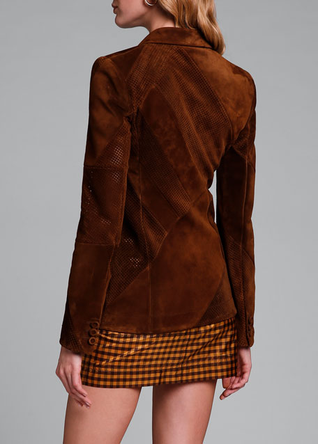 Perforated Suede Double-Breasted Jacket