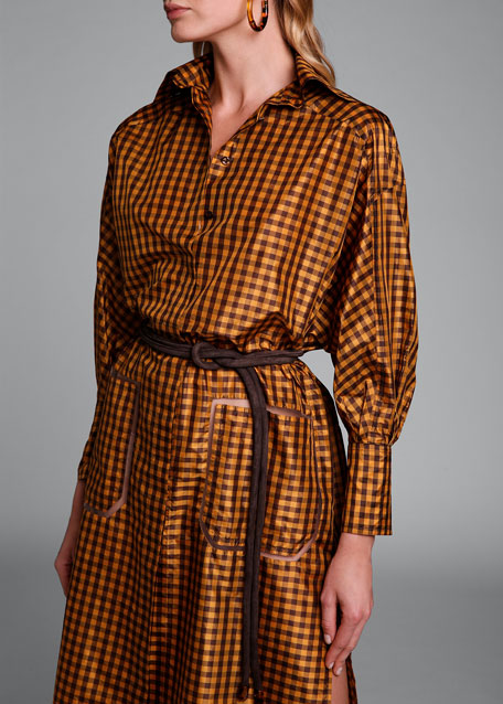 Long-Sleeve Taffeta Check Shirtdress