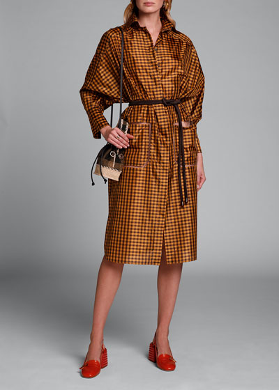 Long-Sleeve Taffeta Check Shirtdress