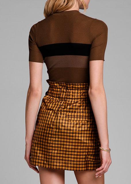 Short-Sleeve Crewneck Ribbed Silk Pullover Top