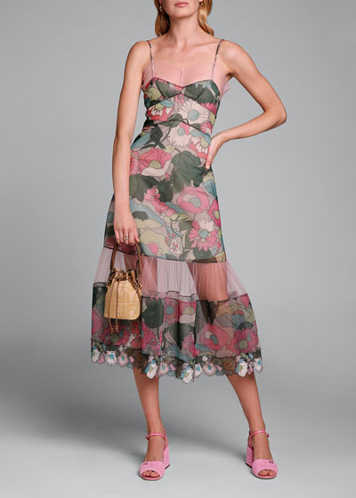 Printed Floral Spaghetti-Strap Dress