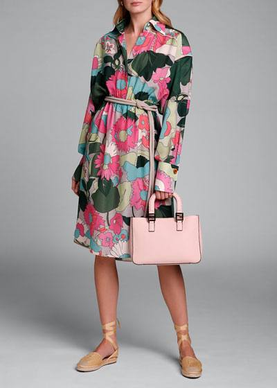Long-Sleeve Large Floral-Print Silk Jacquard Dress