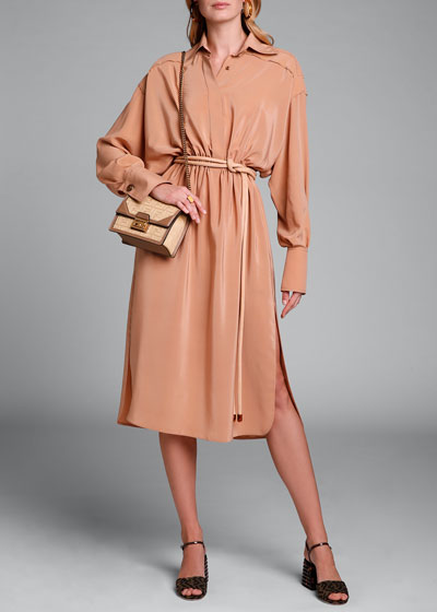Long-Sleeve Button-Front Washed Crepe Dress