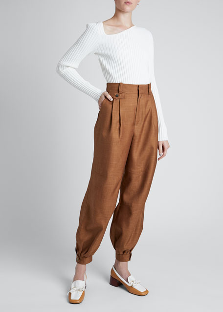 Image 1 of 1: High-rise Wool Twill Balloon Trousers