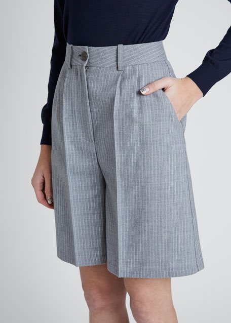 Striped Twill Bermuda Shorts