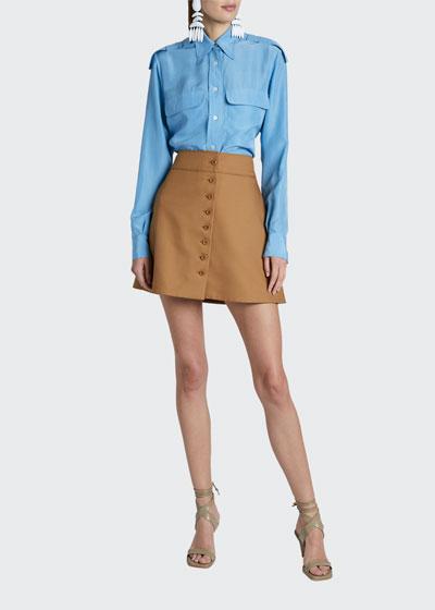 Long-Sleeve 2-Pocket Silk Button-Down Shirt