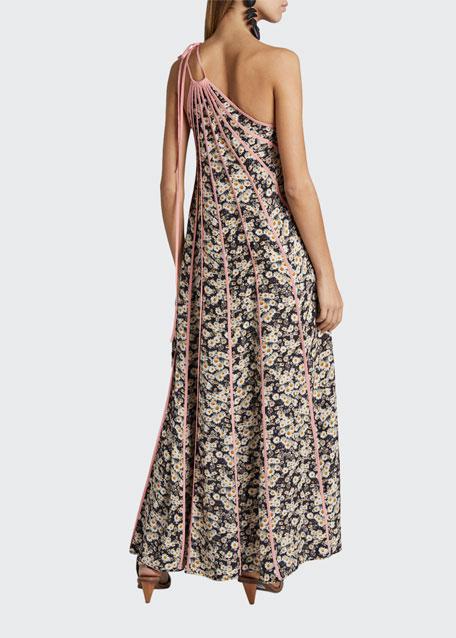 Daisy-Print Seamed One-Shoulder Maxi Dress