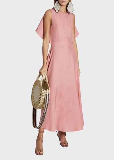 Satin Sleeveless Cape-Back Midi Dress