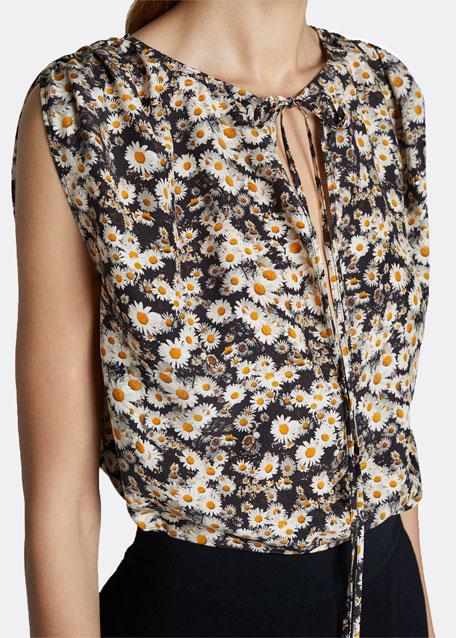 Daisies Print Tie-Neck Top
