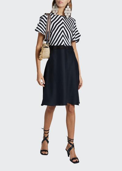 Stripe-Top Dress with Slit