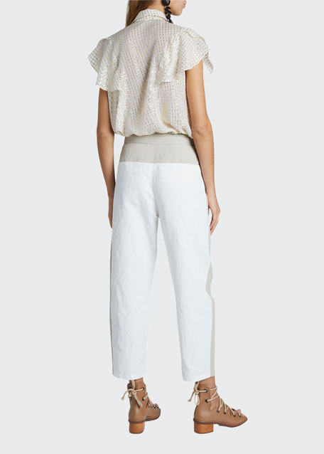Cropped Pants With Belt