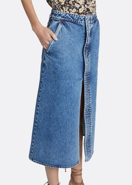 Light Wash Denim Midi Skirt with Front Slit