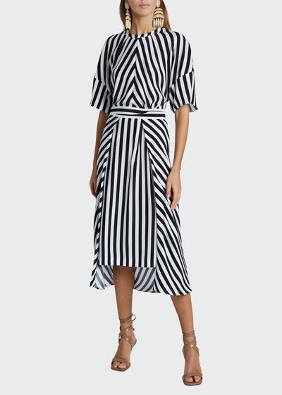 Striped Short-Sleeve Midi Dress with Belt