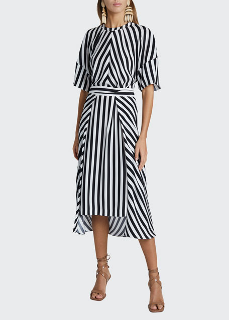 Striped Short-Sleeve Midi Dress with Belt
