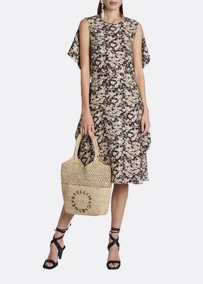 Daisy-Print Sleeveless Knee-Length Dress