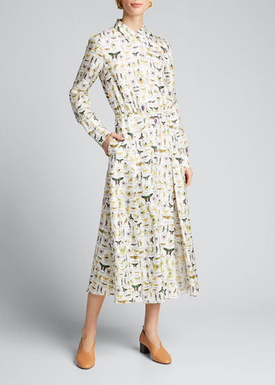 Mariano Insect Print Silk Shirtdress