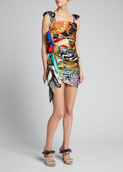 Silk Scarf-Tied Bodycon Dress