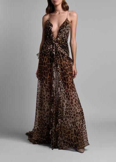Leopard-Print  Gown