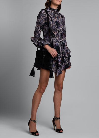 Paisley Mock-Neck Dress with Ruffle Hem