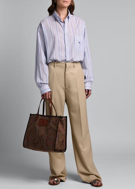 Straight-Leg Wool Trousers