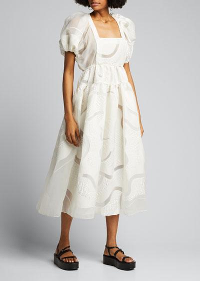 Puff-Sleeve Open-Back Dress