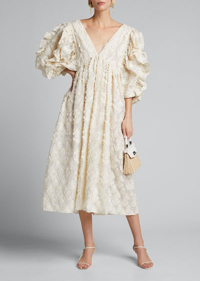 Ruffle-Embroidered 3/4-Sleeve Deep-V Dress
