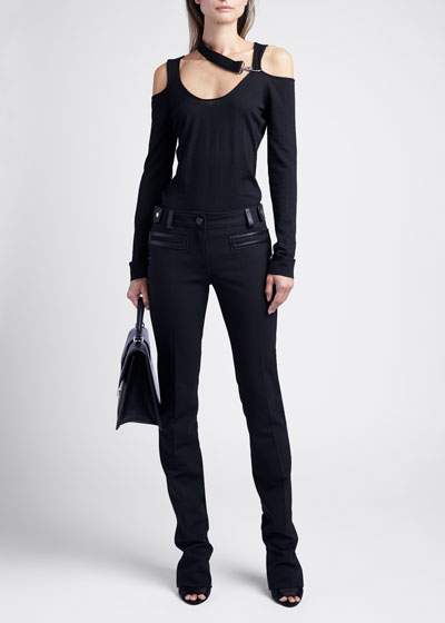 Long-Sleeve Sweater With Cutouts And Hardware
