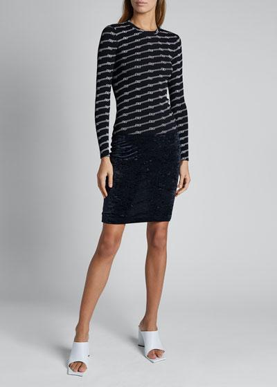 Print Knit Long-Sleeve Crewneck Sweater