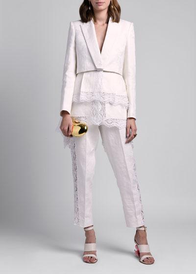 Floral Jacquard Jacket with Lace Trim