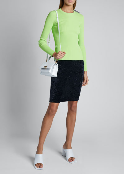 Viscose Knit Long-Sleeve Crewneck Sweater