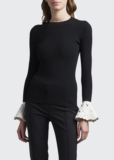 Lace-Cuff Ribbed Sweater