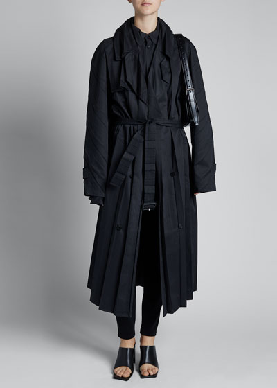 Tech Gabardine Long-Sleeve Collar Pleat Belt Trench Coat