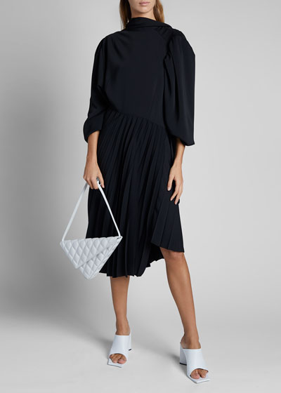 Crepe Long-Sleeve High-Neck Twist Pleat Dress