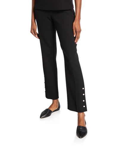 Wool Crepe Pearly Button-Front Pants