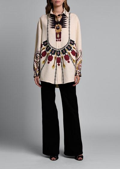 Aztec-Print  Shantung Button-Front Blouse