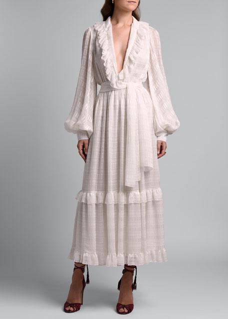 Ruffled Silk Dress