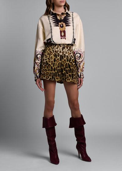 Leopard-Print  Silk/Cotton Shorts