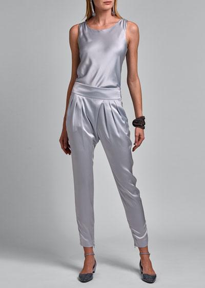 Silk Pleat Front Pants