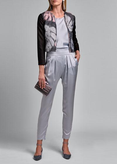 Leaf-Print  Chiffon-Bodice Jacket with Organza Sleeves