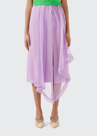Silk Light Organza Skirt With Front Slit