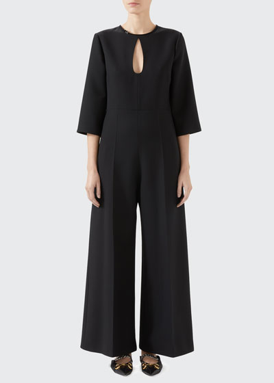 Cady Crepe Jumpsuit With Teardrop Cutout