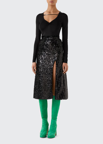 Sequin High-Waist Skirt With Front Slit