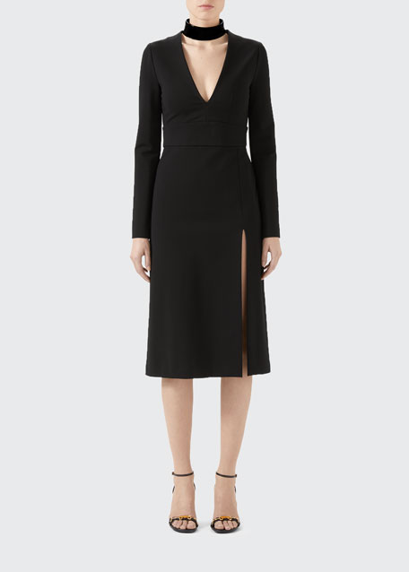 Image 1 of 1: Compact Jersey Deep-V Dress with Detachable Collar