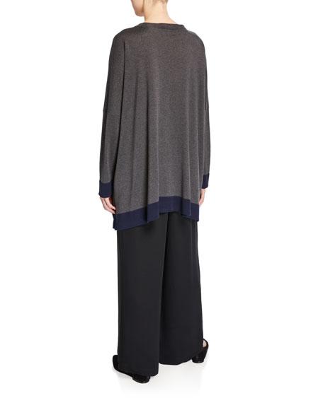 Contrast-Trim Long-Sleeve Silk Sweater