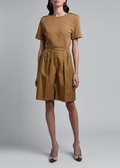 Lux Gabardine Pleated Shorts
