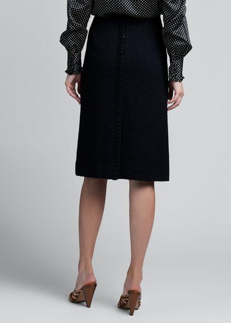 Crochet-Trim Crepe Straight Skirt