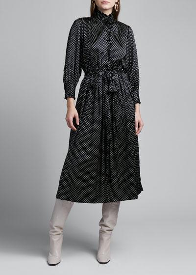 Polka Dot Silk Satin Dress