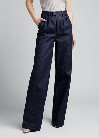 Denim Pleated-Front Wide-Leg Pants