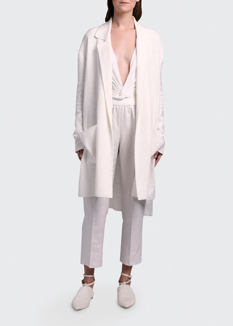 Image 1 of 1: Silk-Linen Knit Duster Coat