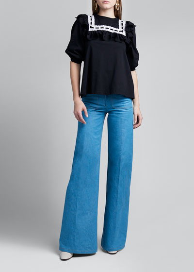 1/2-Sleeve Ruffled Jersey T-Shirt